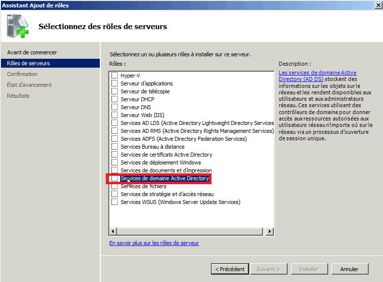 installation d répertoire actif sous windows server 2003