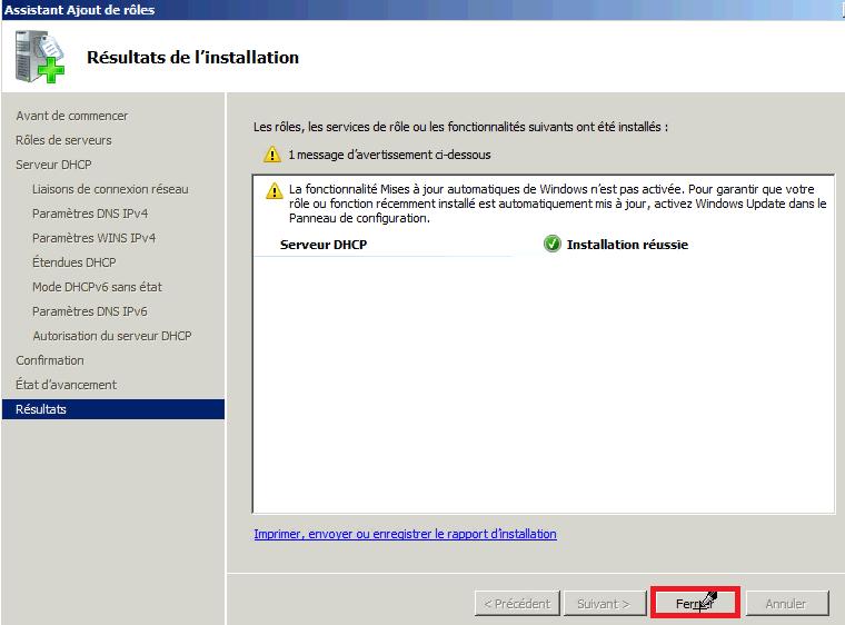 Installer rôle DHCP Windows 2008
