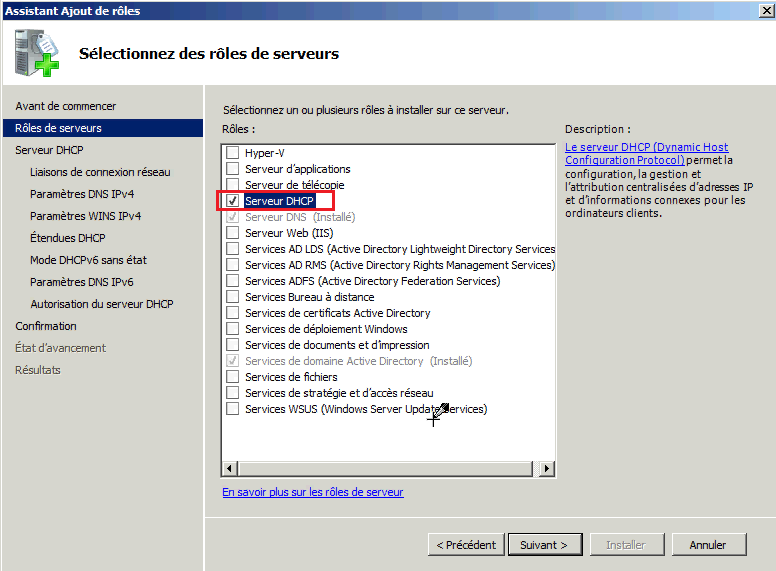 Installer rôle DHCP Windows 2008
