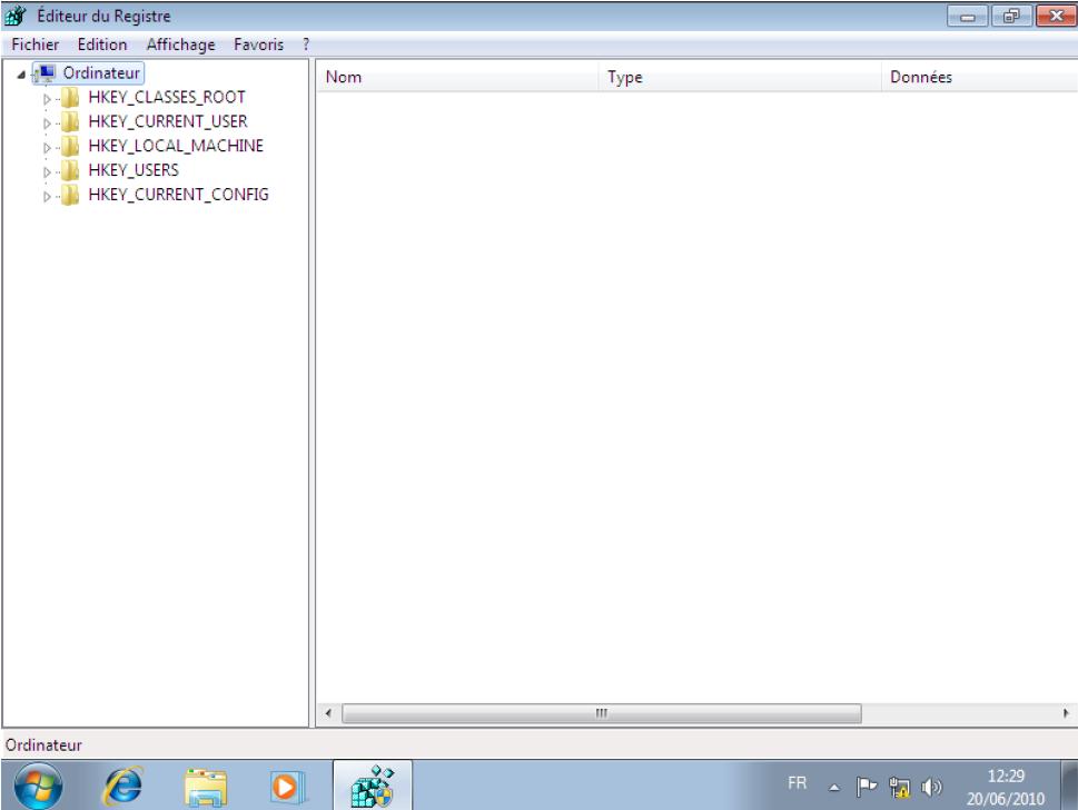 La base de registre Windows Seven