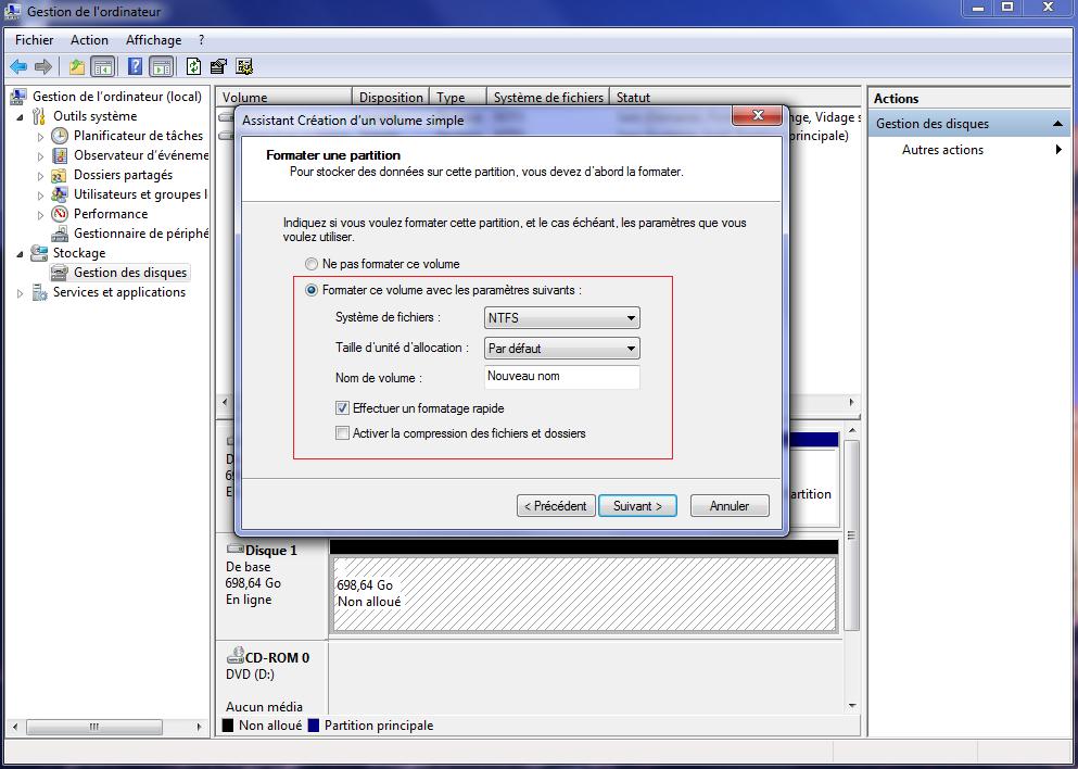 Formater nouveau disque dur externe