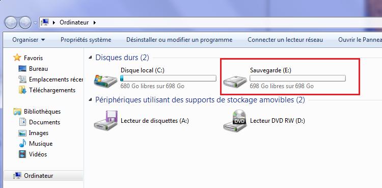 Nouveau disque dur externe