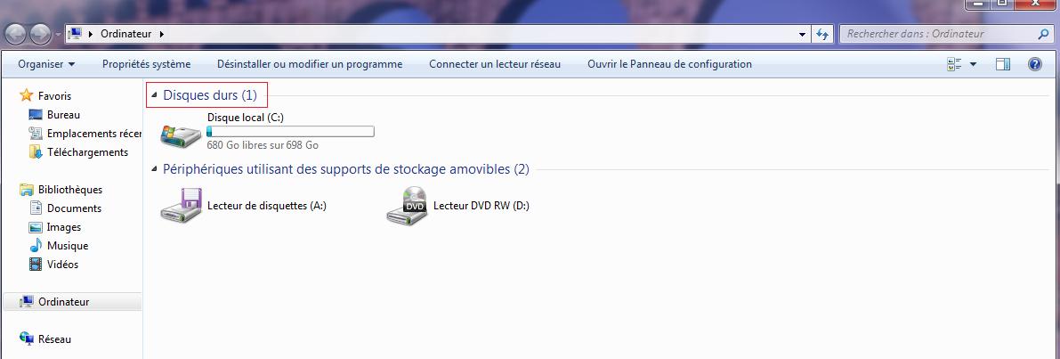 Rechercher un disque dur externe