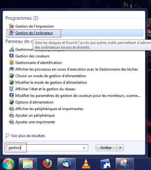 Menu gestion de l'ordinateur
