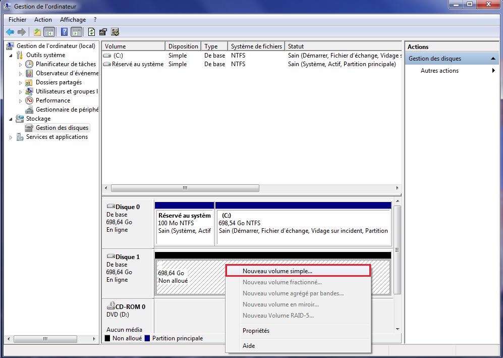 Nouveau disque dur dans Windows