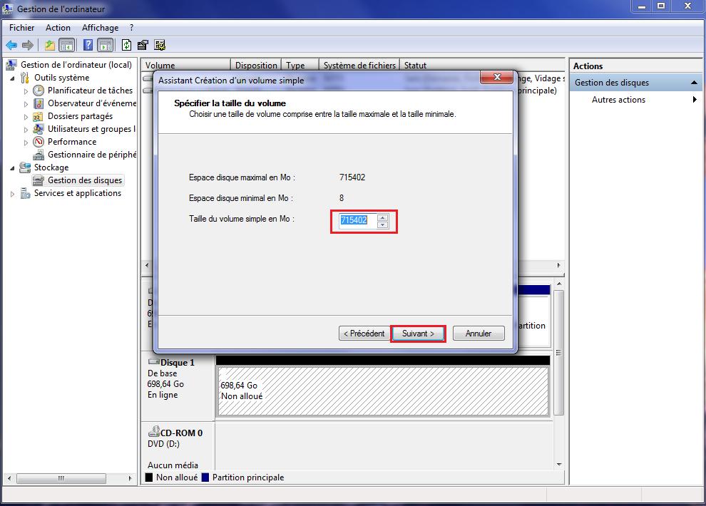 Créer un nouveau disque dur externe