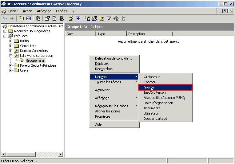 Créer un groupe sur Active Directory