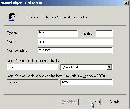 Créer un utilisateur dans Active Directory 2003