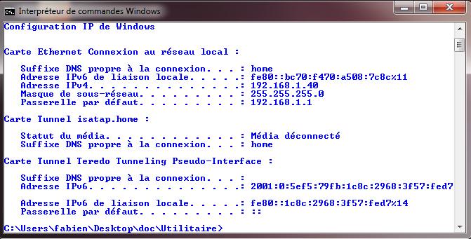 Commande ipconfig en MS-Dos