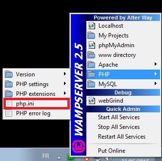 Paramètrer php.ini pour phpMyAdmin