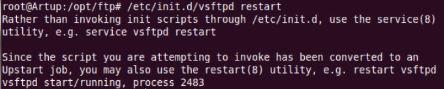 Redémarrage serveur VSFTPD