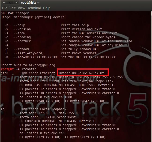Changer d 39 adresse mac avec macchanger for Changement d adresse par internet