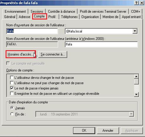 Créer utilisateur Active Directory