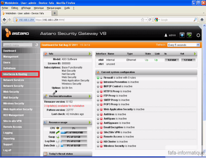 Configurer les interfaces réseaux dans Astaro