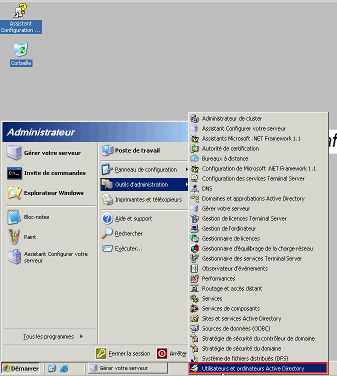 Créer groupe Active Directory