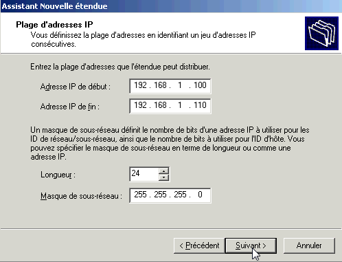 Configurer serveur DHCP Windows 2003