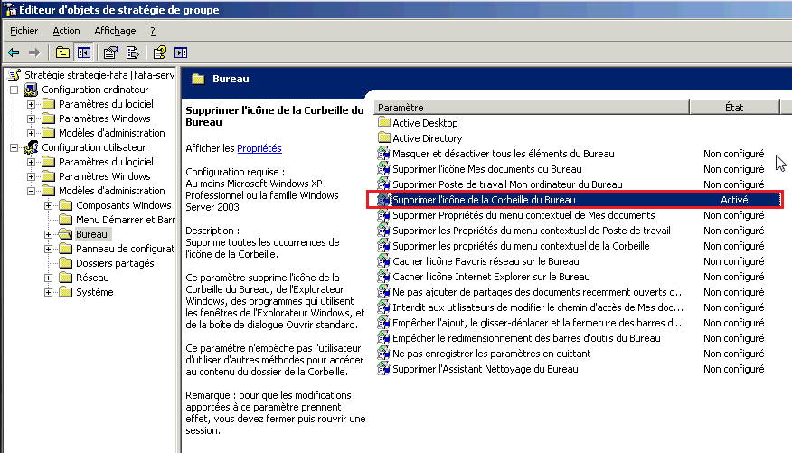 GPO dans Windows 2003