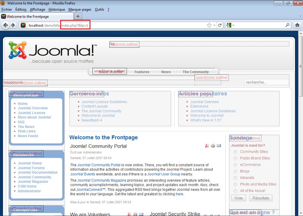 Position des modules dans Joomla