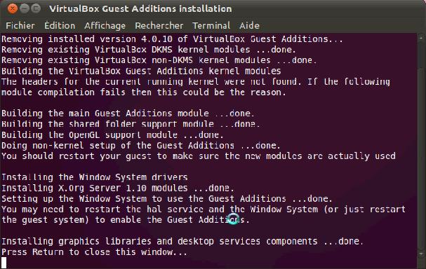Installer des composantes Virtualbox