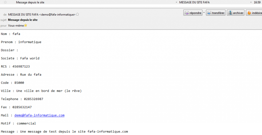Message formulaire PHP