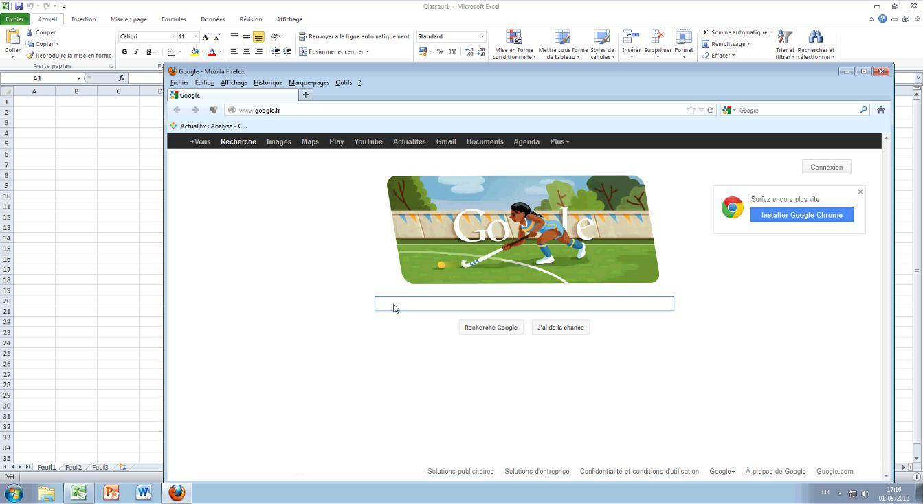 Ouverture d'Excel et du navigateur Mozilla