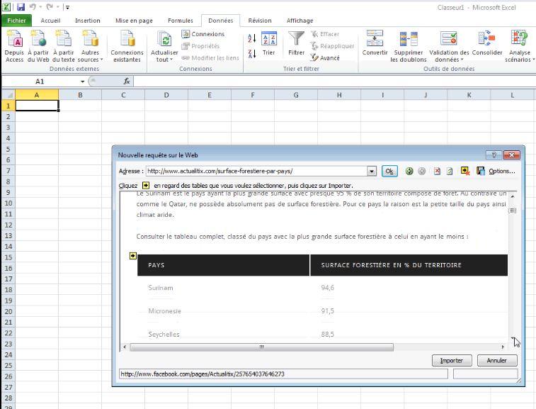 Sélectionner un tableau HTML pour Excel