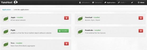 Application serveur hébergement YunoHost