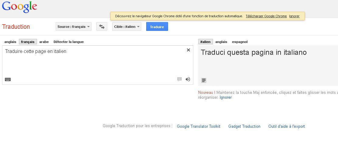 Traduction Google avec drapeau
