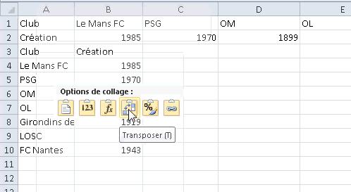 Excel inverser les lignes