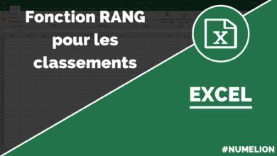 Faire un classement avec la fonction RANG dans Excel