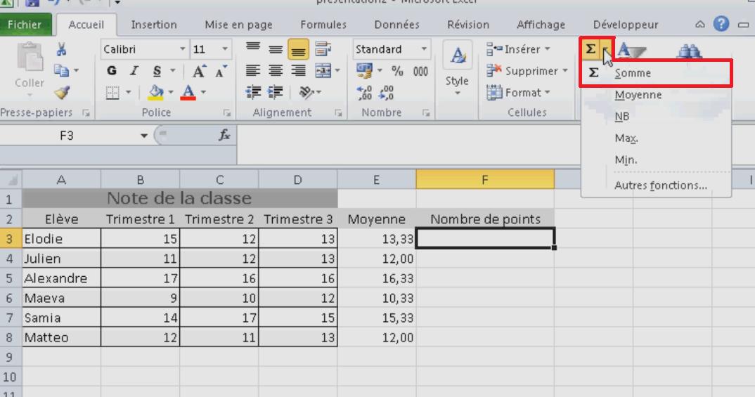 Fonction SOMME Excel rapide