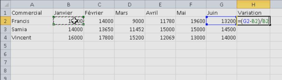 Formule variation Excel