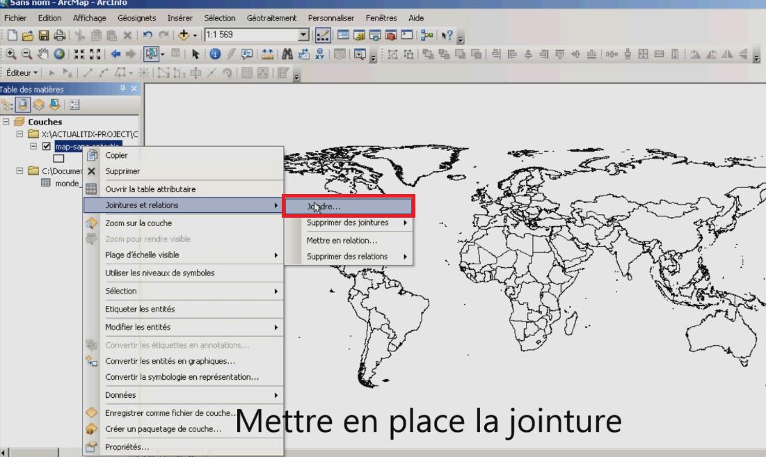 Jointure Excel avec arcmap