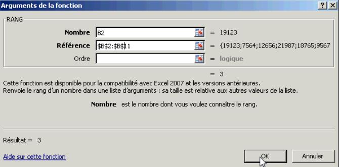 Paramétrer fonction Rang Excel