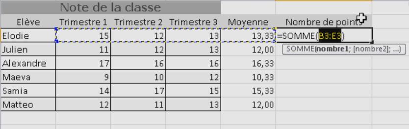 Paramétrer la fonction SOMME Excel