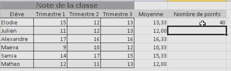 Résultat fonction SOMME Excel