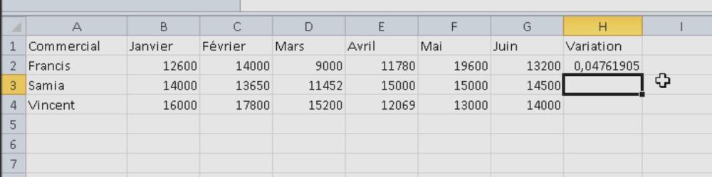 Résultat de la variation dans Excel
