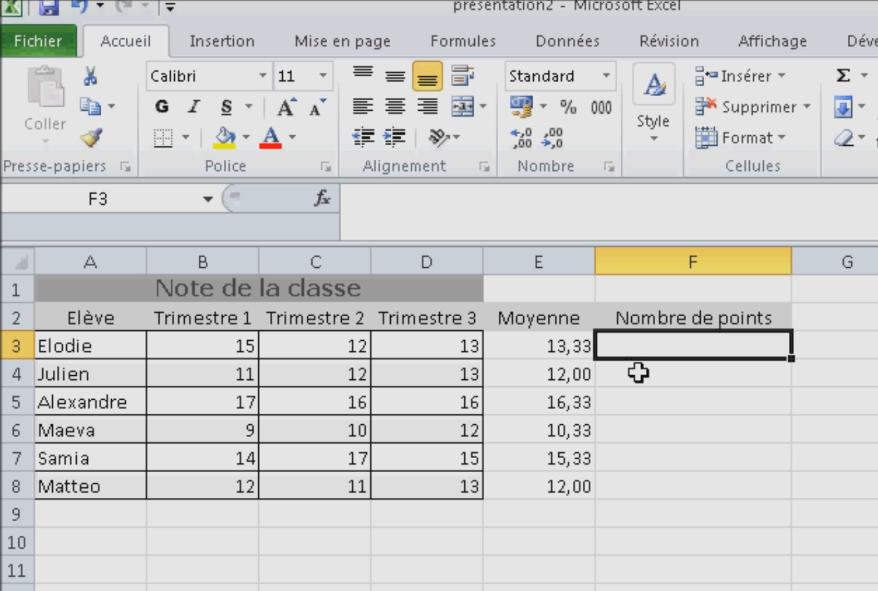 Utiliser la fonction SOMME Excel
