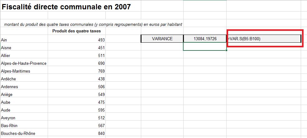 Calcul de la variance dans Excel