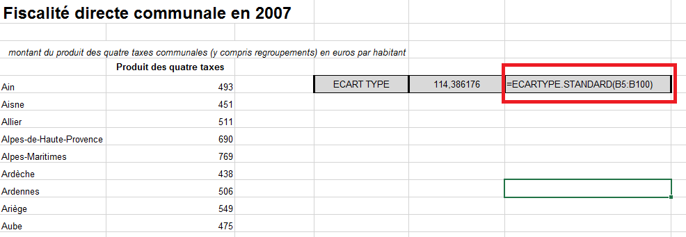 Calcul de l'Ecart-Type dans Excel