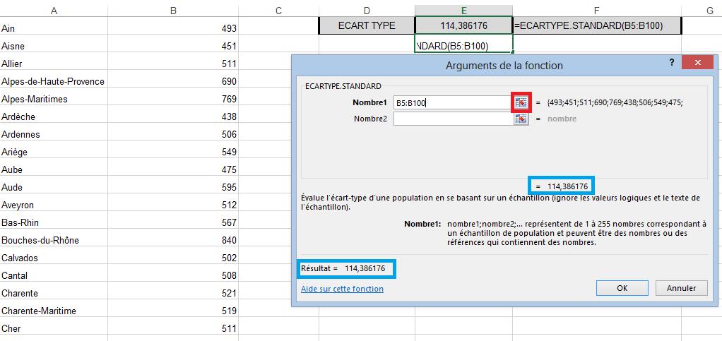 Calcul Ecart-type