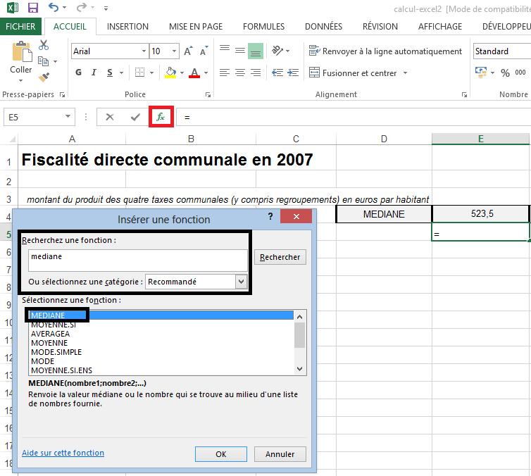 Calcul de médiane dans Excel