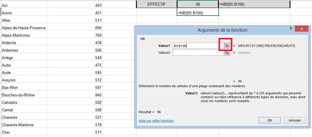 Calculer nombre de valeurs dans Excel