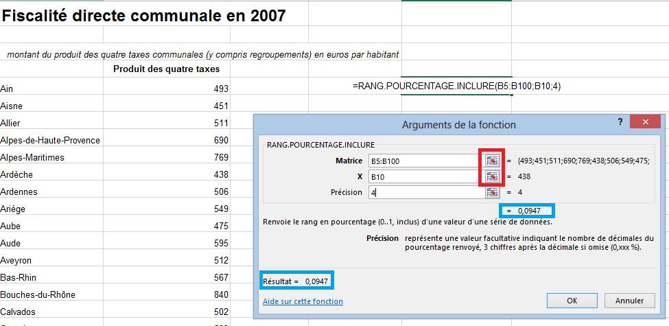 Formule de classement en pourcentage dans Excel