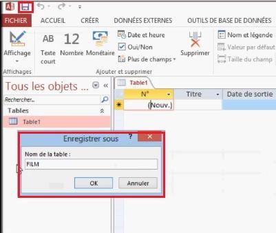 Enregistrer une table dans une base de données Access
