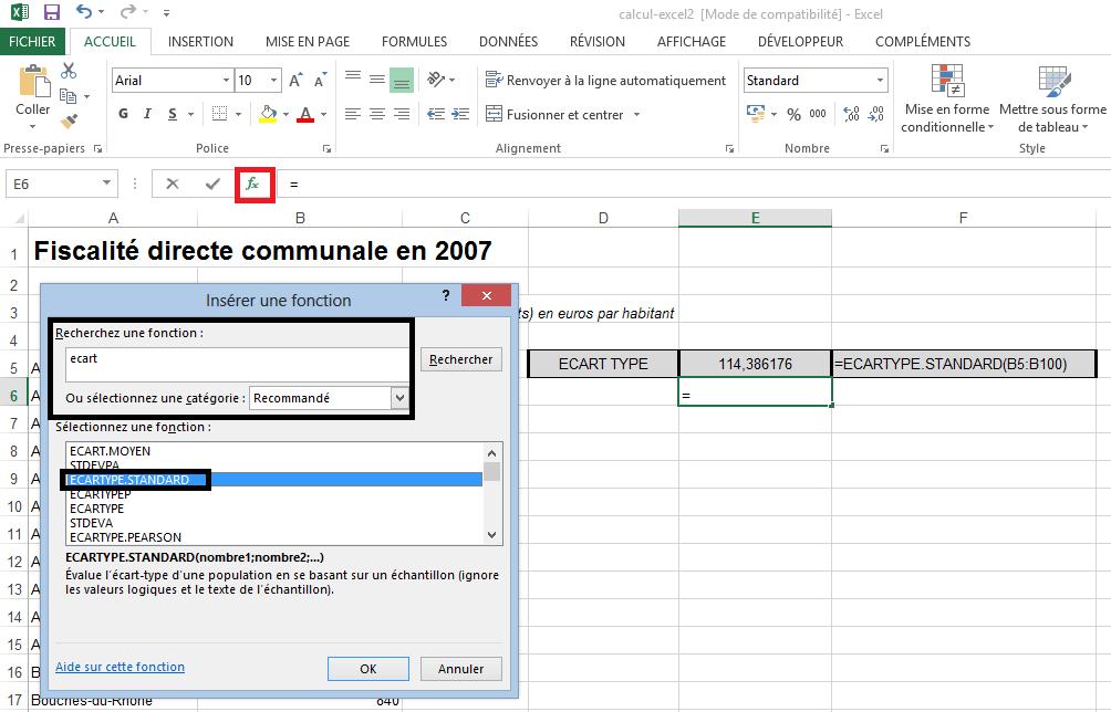 Fonction Ecart-type Excel
