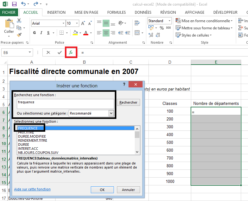 Fonction fréquence Excel