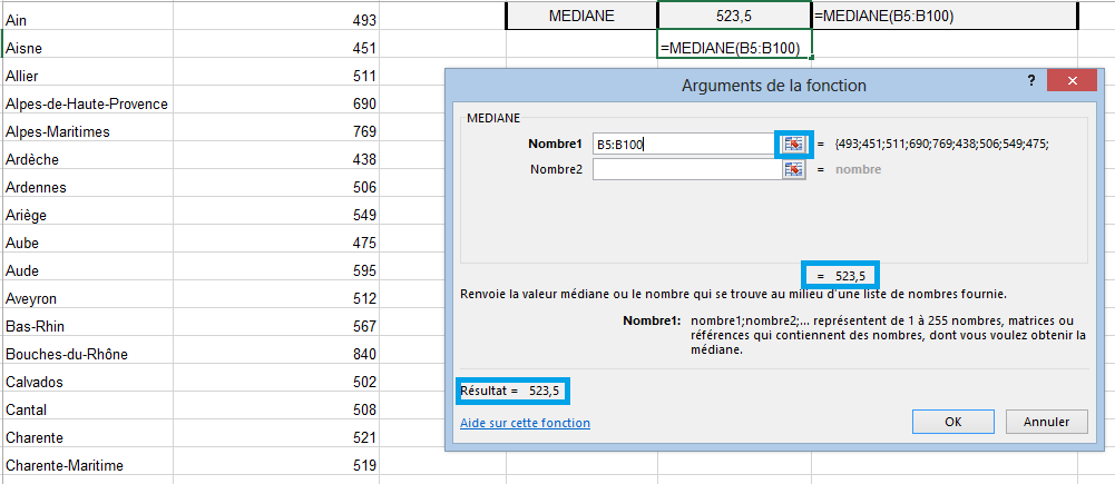 Fonction médiane Excel