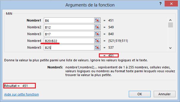 Fonction minimum Excel