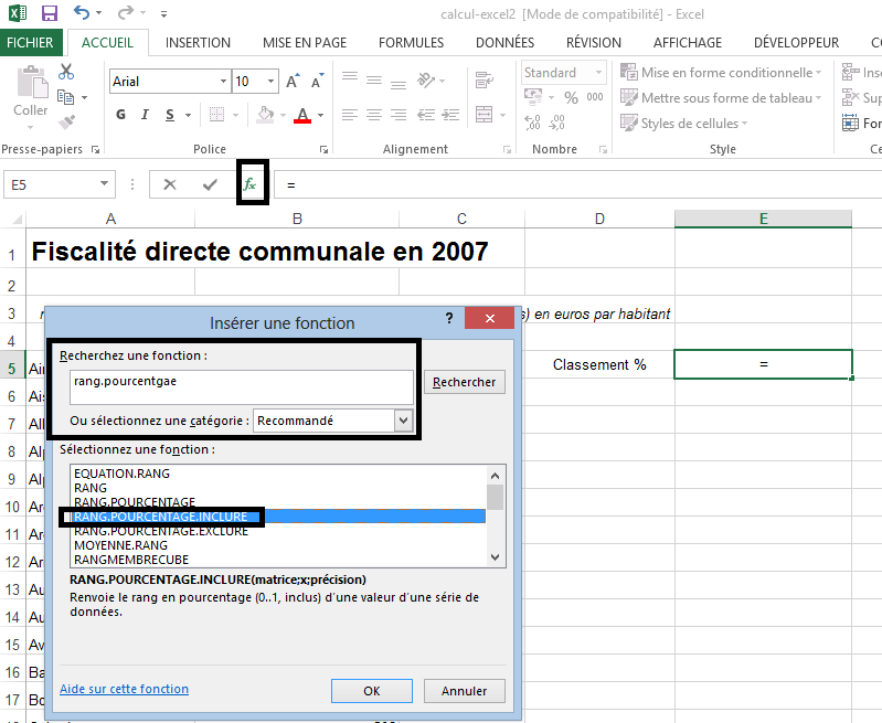 Fonction RANG.POURCENTAGE dans Excel